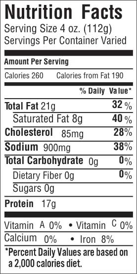 Classic Flat Cut 20 Nutrition Facts