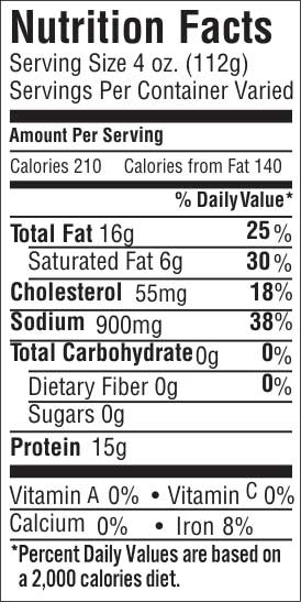 Classic Flat Cut Papain Free Nutrition Facts