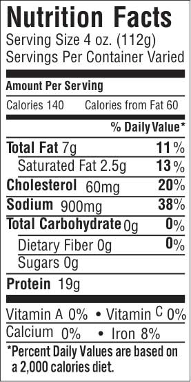 Eye of Round 30 Nutrition Facts