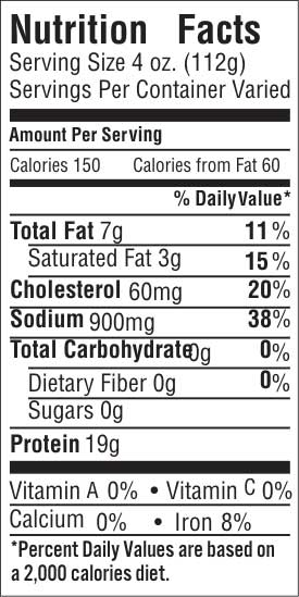 Eye of Round Papain Free Nutrition Facts