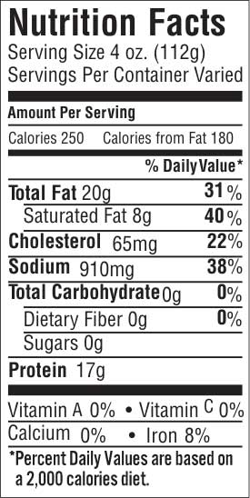 Point Cut 20 Nutrition Facts
