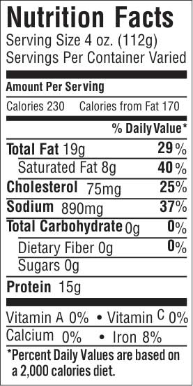 Point Cut 35 Nutrition Facts